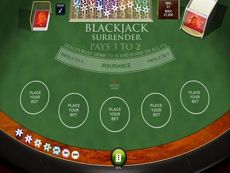 Blackjack Surrender Screensheet