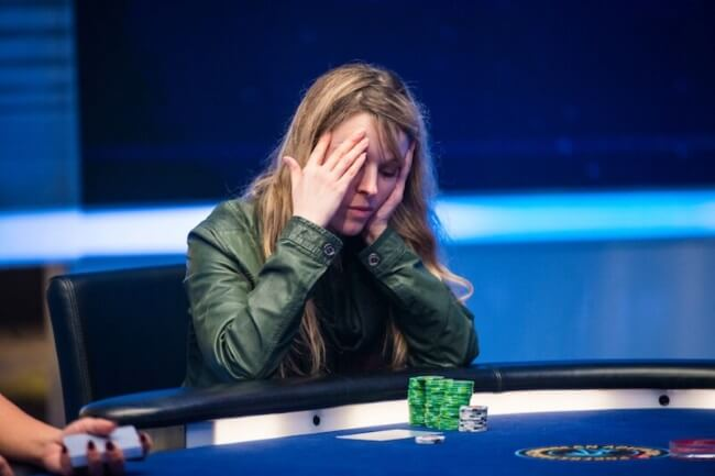 Maria Lampropulos Focused on poker game