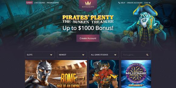 Royal Slots Online Casino Homepage
