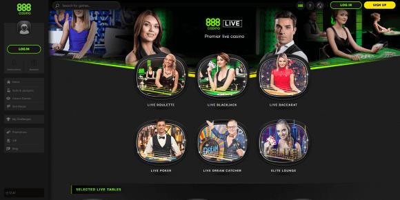 888 Live Casino Homepage