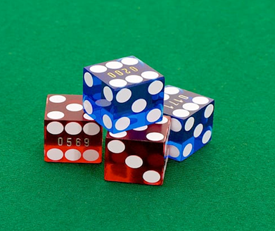 red and blue dice