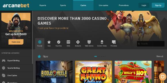 arcanebet casino homepage screenshot
