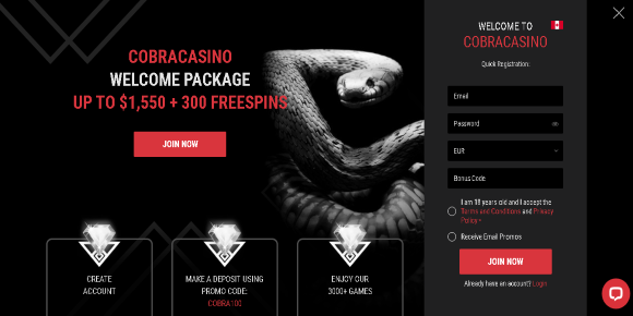 Cobra Casino Welcome Offer
