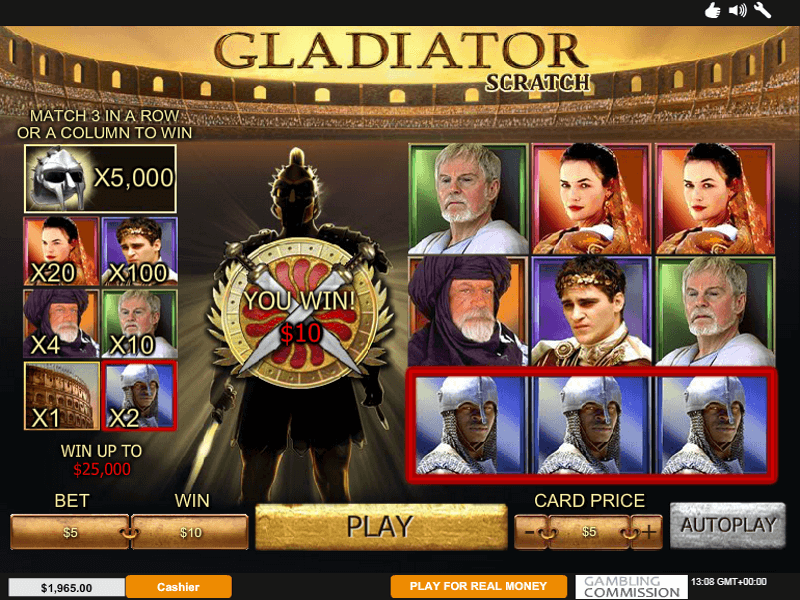 Gladiator Scratch Card