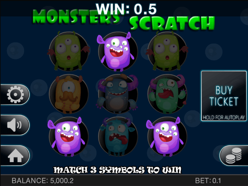 Monster's Scratch Scratch Card