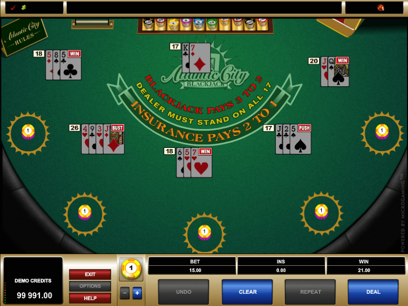 Multi-Hand Atlantic City Blackjack