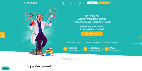 Playzee Casino Home Page