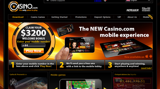 Casino.com welcome offer